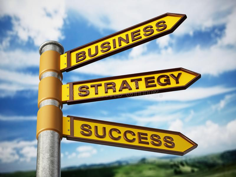 Business, strategy and success signboard against blue sky. 3D illustration.  stock illustration
