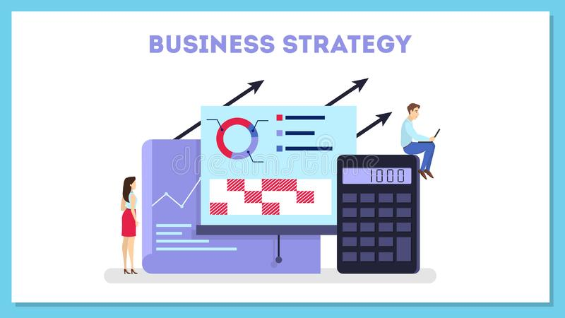 Business strategy web banner concept. Idea of marketing stock illustration