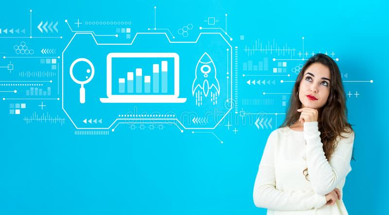 Business strategy with young woman stock photos