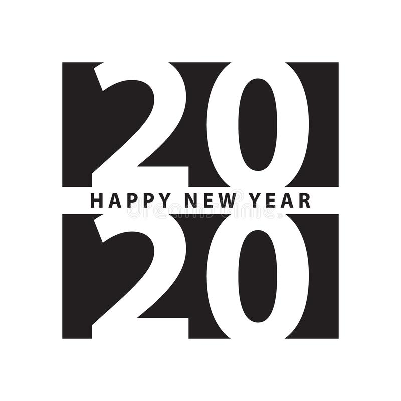 Business style happy new year 2020 print modern design template vector illustration