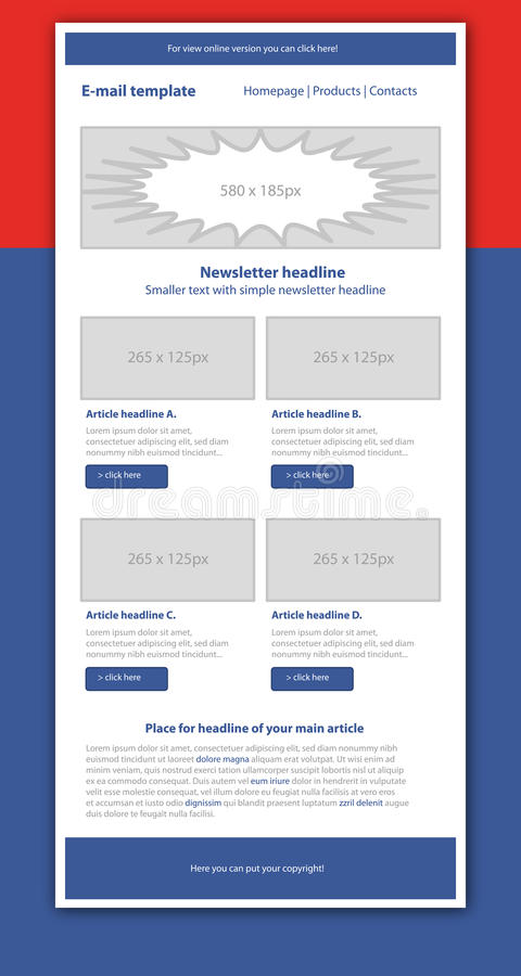 Business style newsletter red template. Professional business style newsletter red template royalty free illustration