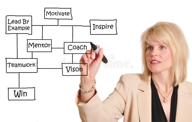 Business success. Attractive businesswoman diagramming a business success flow chart royalty free stock photo