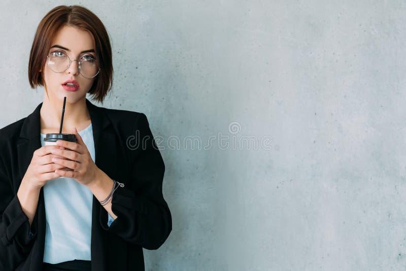 Business success achievements smart powerful woman. Smart powerful woman succeed in business. Professional achievements and personal development. Copy space royalty free stock images