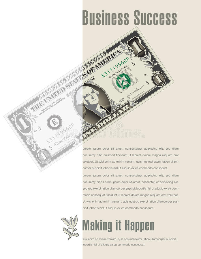 Business Success ad with a dollar bill stock illustration