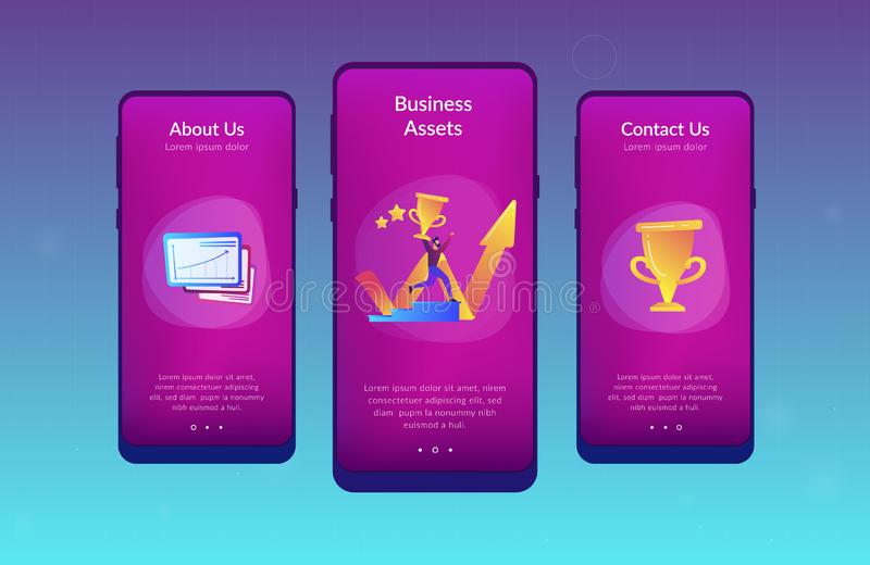 Business success app interface template. Businessman with trophy runs up stairs and growth chart. Business success, leadership, business assets and planning royalty free illustration