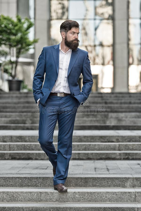 Business success. business man broker. Millionaire. handsome man realtor in fashion suit. modern life. motivated royalty free stock photography