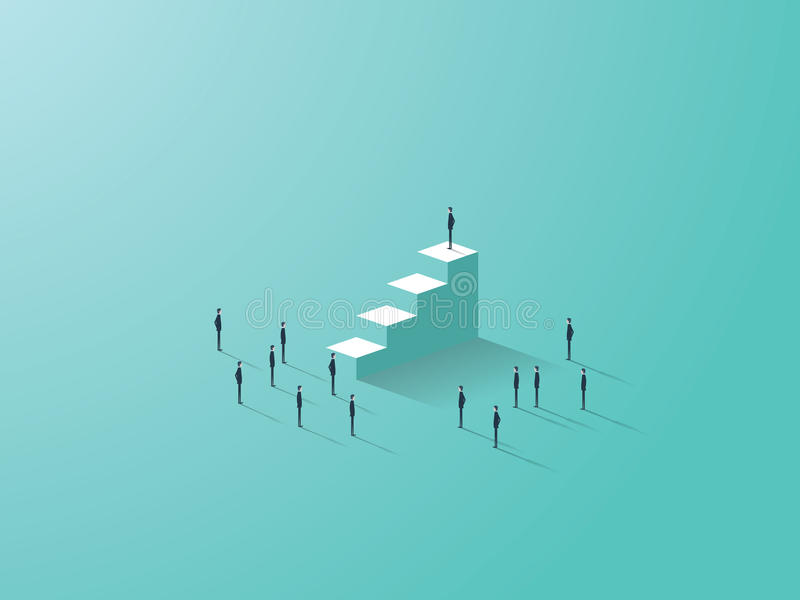 Business success concept with businessman standing on top of stairs, tiny businessmen around. stock illustration