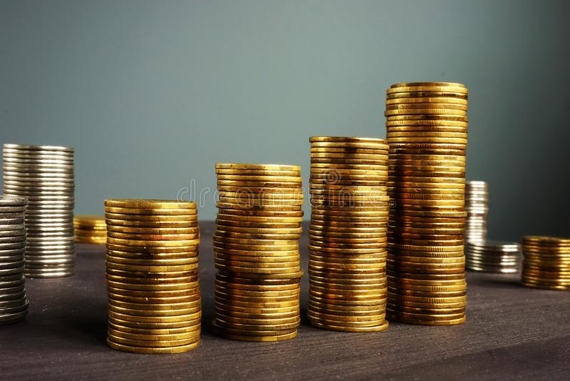 Business success. Coins stackson a desk. Financial growth. Business success concept. Coins stackson a desk. Financial growth stock photos