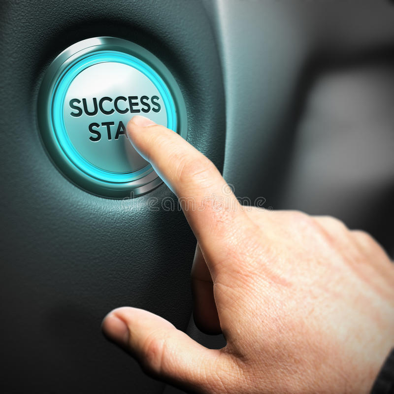 Business Success Concept, Motivational Picture. One big button with the text success start and a finger pressing the center, illustration of business performance vector illustration