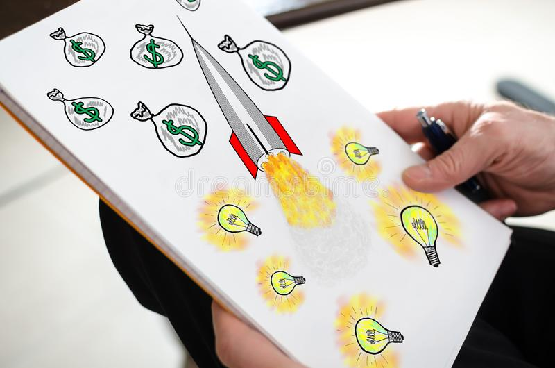 Business success concept on a paper stock image