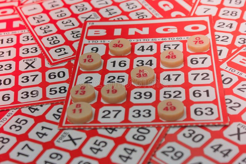 Business Success Concept : Red bingo card with white chip. royalty free stock image