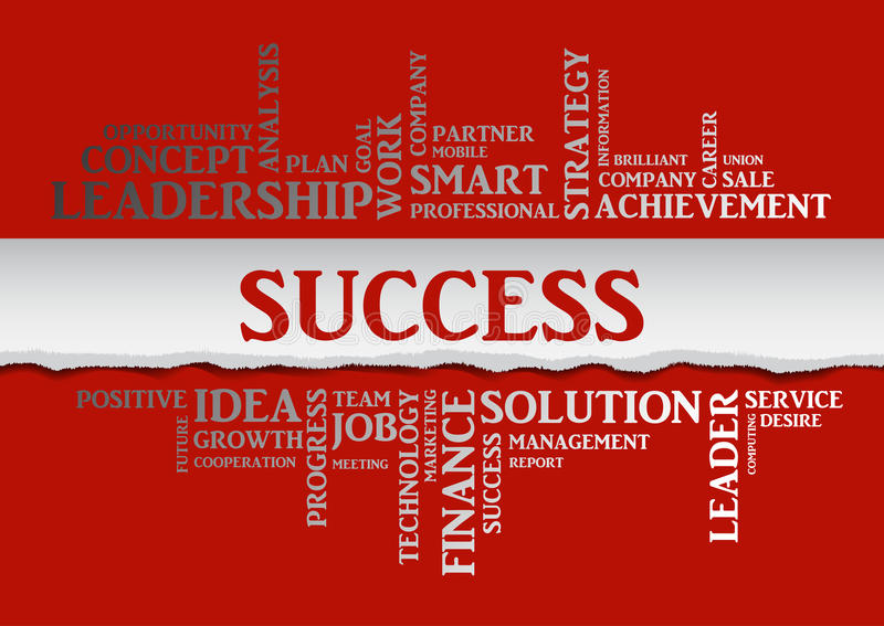 Business success concept related words in tag cloud. Isolated with different association business terms. The effect of torn paper. Vector vector illustration