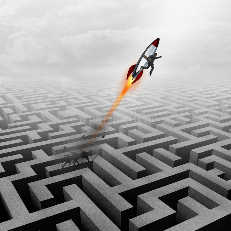 Business Success. Concept and successful clever businessman motivation metaphor as a man breaking out of a maze with a rocket ship going upward towards a career royalty free illustration