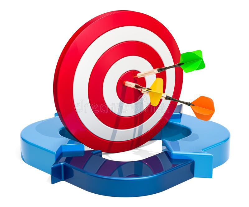 a76d41cb5bb Business success concept, Target with blue arrows. 3D rendering royalty  free illustration