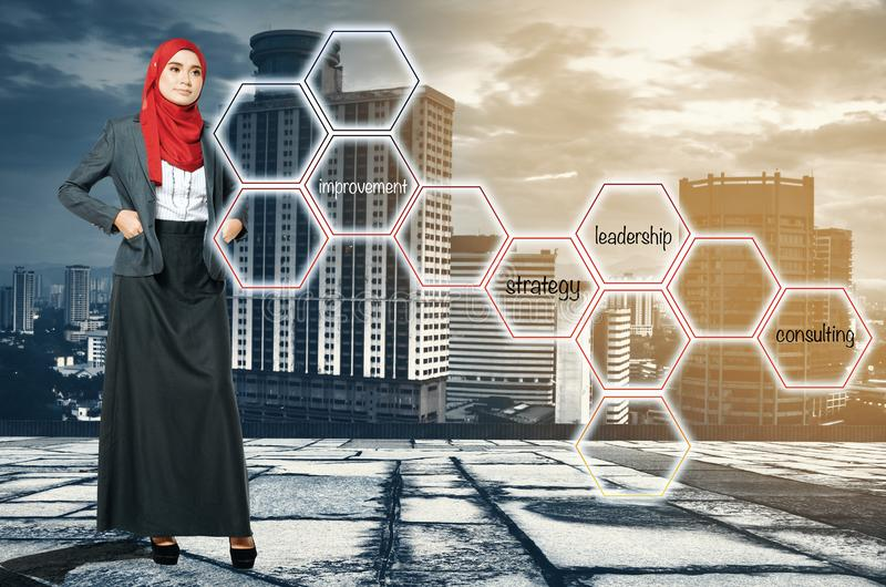 Young women standing and look at word cloud over cityscape background. Business success concept. young woman standing and look at word cloud over cityscape royalty free stock photo