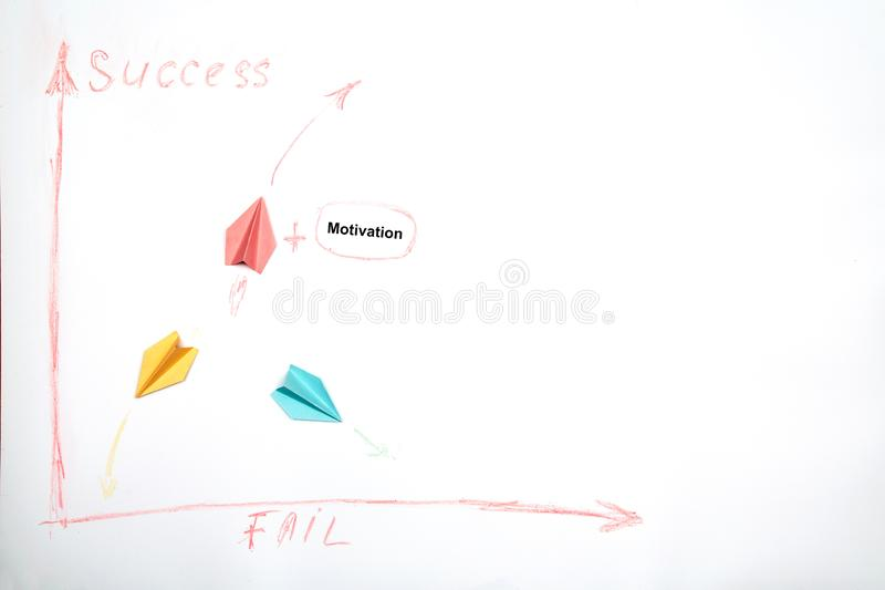 Business success and fail concept. Solution, rivalry and challenge. Paper plane thinking strategically.  royalty free stock image