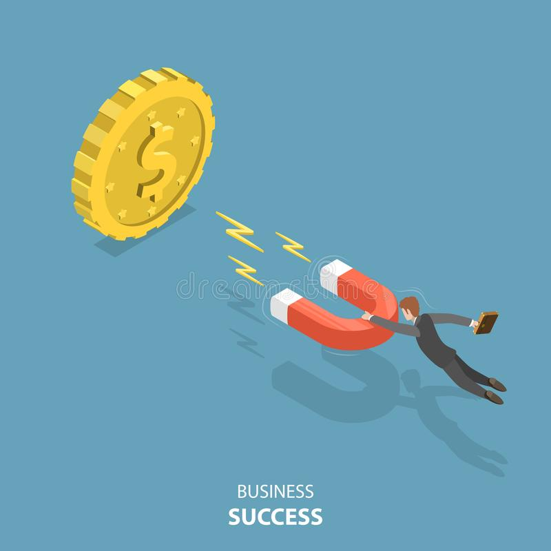 Business success flat isometric low poly vector concept. Businessman is flying to the huge dollar coin using a magnet that is attracting to the coin. Advantage vector illustration
