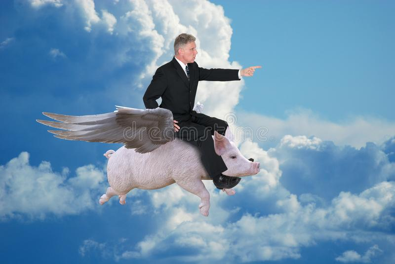 Business Success, Goals, Sales, Marketing. A businessman flies on a flying pig. Abstract concept for business, goals, success, sales, marketing, and risk stock images