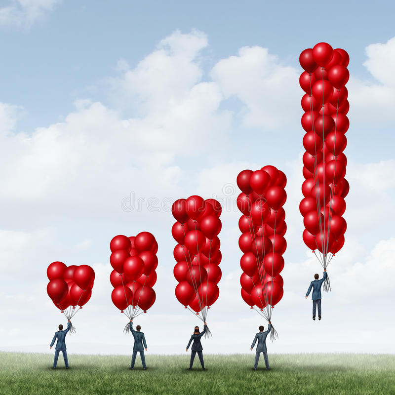 Business Success Graph. As a group of businesspeople holding balloons shaped as a financial chart with one individual businessman with enough balloon objects vector illustration