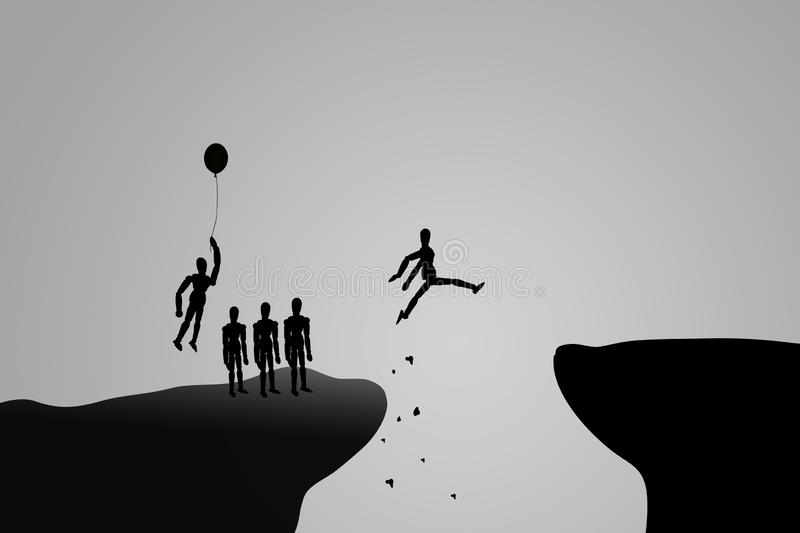 Abstract image of Silhouette people trying  jump cross over the cliff, one man flying with balloon over cliff. royalty free stock photography