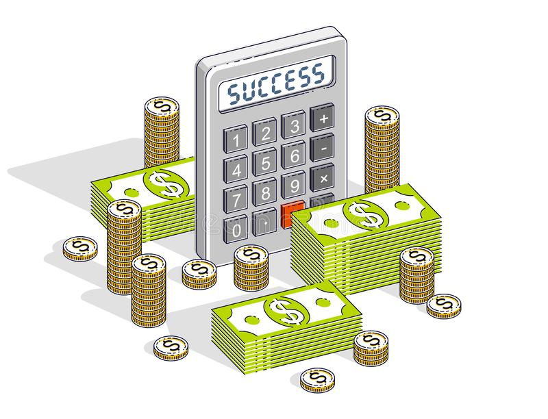 Business success and income or profit concept, calculator and money cash dollar stack and coins isolated on white background. Vector 3d isometric business and stock illustration