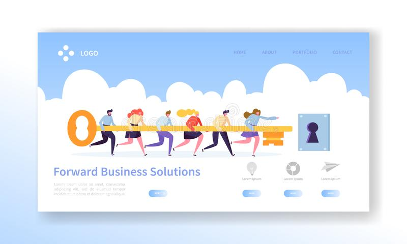 Business Success Key Landing Page Template. Cooperation and Teamwork is Secret for Motivation Work Strategy for Website vector illustration