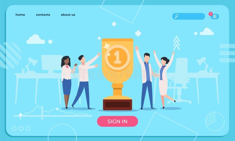Business Success Landing Page Template. Leadership team website concept. Office employee work reward businessman vector illustration