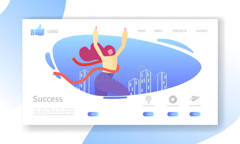 Business Success Landing Page Template. Website Layout with Flat Woman Character Crossing Finish Line. Leadership stock illustration