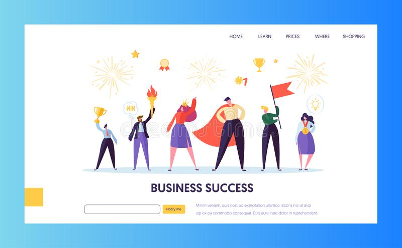Business success, leadership landing page template. Business success, leadership, achievement landing page template. Businessman character with prize, successful vector illustration