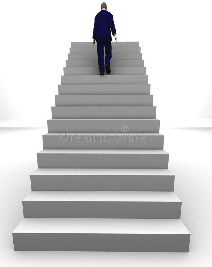 Business success man. A businessman walking upstairs the success staircase royalty free illustration