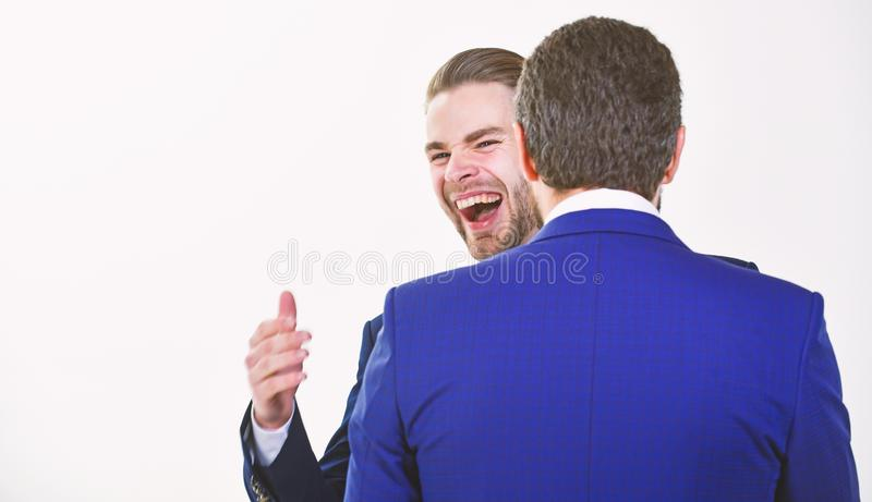 Business success. Office party. Celebrate successful deal. Launch own business. Business partners celebrate success stock image