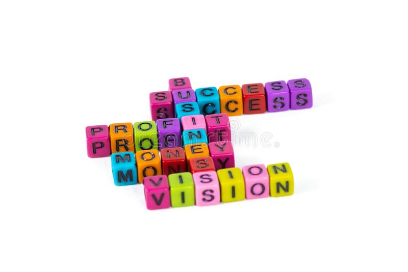 BUSINESS SUCCESS PROFIT MONEY VISION text made from colorful beads or letter bead on white background, finance and business. Concept idea stock photography