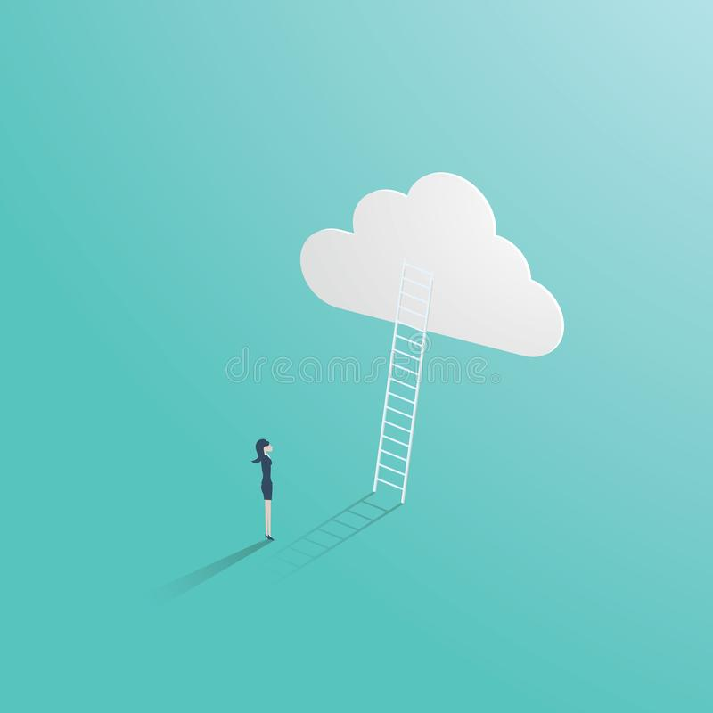 Business success vector concept with businessman standing in front of ladder leading up to the cloud. Symbol of career. Opportunity, ambition, corporate ladder royalty free illustration