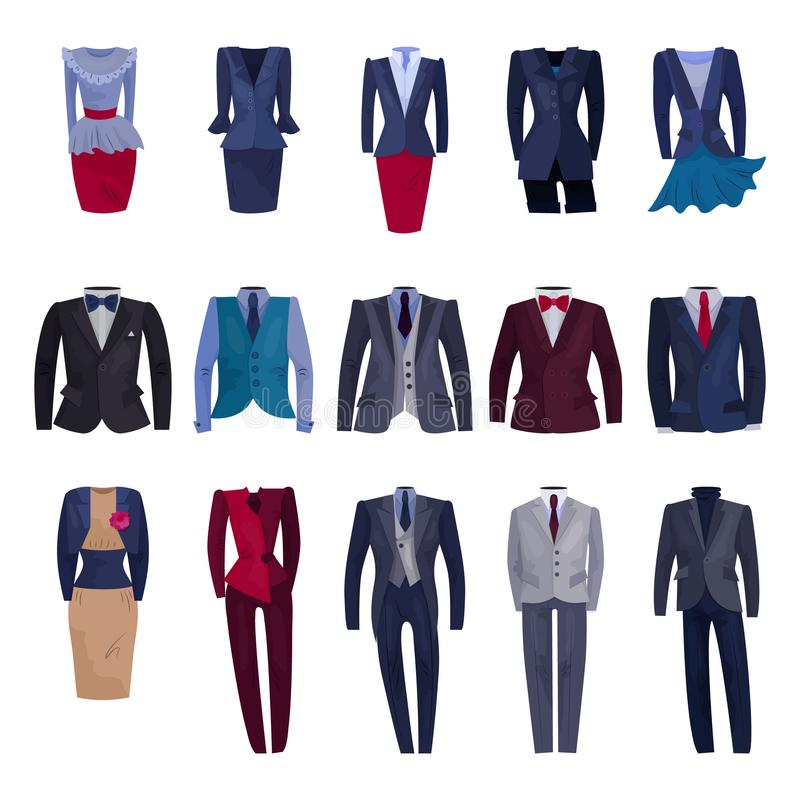 Business suit vector businessman or businesswoman corporate suited clothes illustration set of manager or worker dress. Code clothing at office isolated on royalty free illustration
