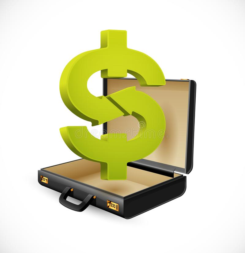 Business suitcase - finance concept - Dollar sign businessman briefcase stock photography