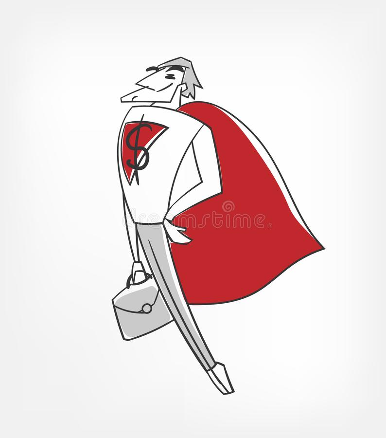Business super man vector character illustration clip art stock illustration