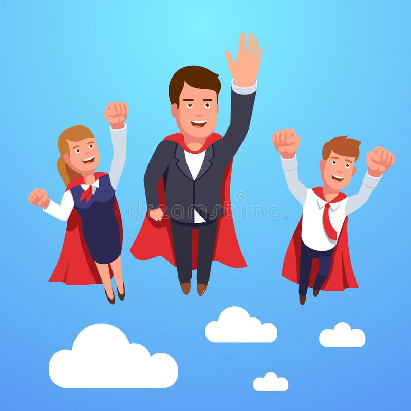 Business super man and woman dream team flying vector illustration