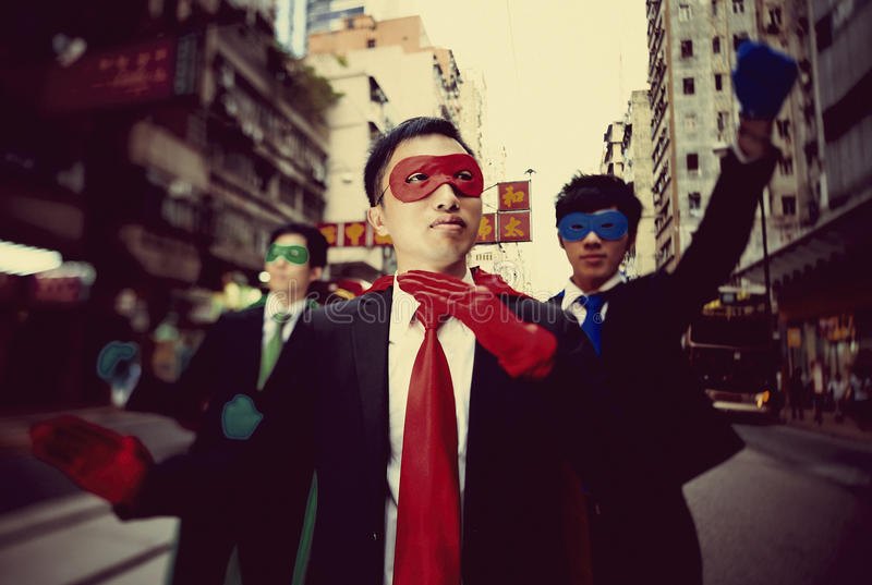 Business Superheroes in Hong Kong Confidence Concept.  royalty free stock photos
