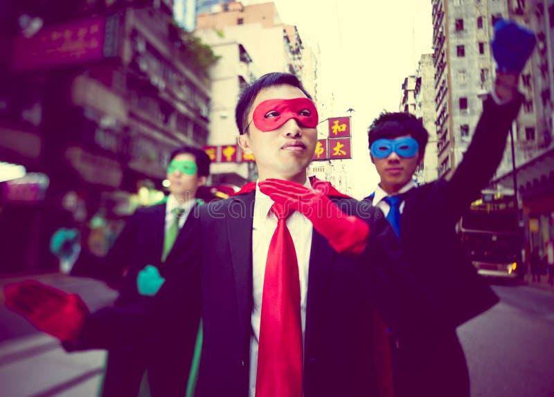 Business superheroes in Hongkong. Asia royalty free stock image