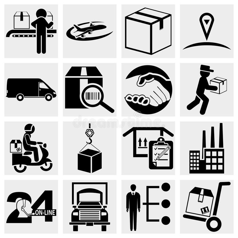 Business, supply chain, shipping, shopping and ind. Ustry icons set isolated on grey background.EPS file available royalty free illustration