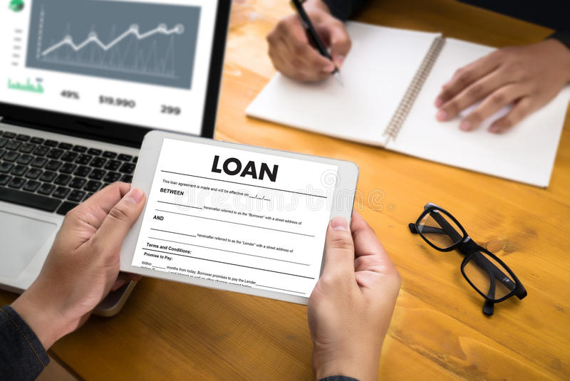 Business Support COMMERCIAL LOAN , document and agreement signi. Ng royalty free stock photo
