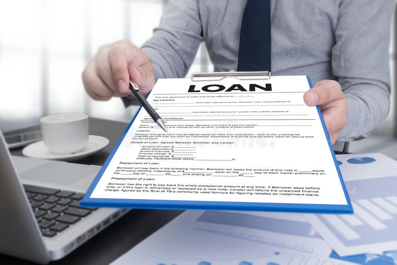 Business Support COMMERCIAL LOAN , document and agreement signi. Ng royalty free stock image