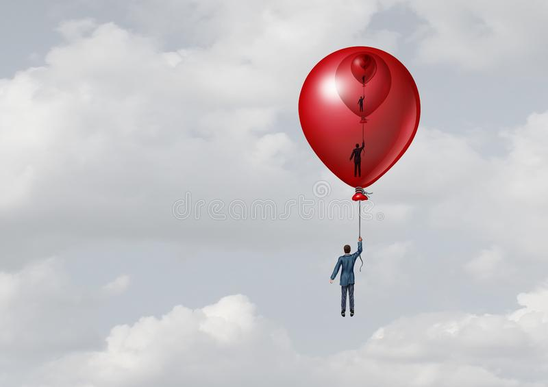 Business Support Management. Metaphor as a person inside a decreasing size balloon with one inside another with 3D illustration elements stock illustration