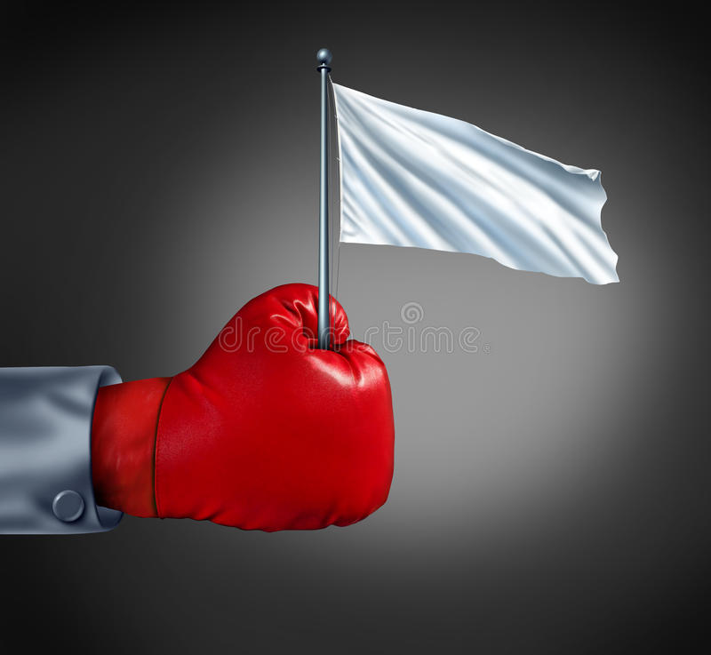 Business Surrender. As a metaphor for retreat in finance with a red boxing glove holding a blank cloth on a flagpole as an icon of giving up the fight and stock illustration