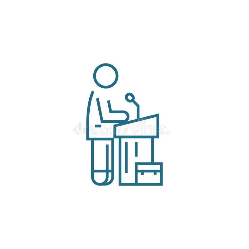 Business symposium linear icon concept. Business symposium line vector sign, symbol, illustration. royalty free illustration