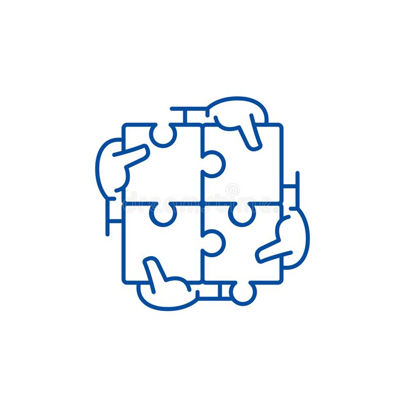 Business synergy line icon concept. Business synergy flat  vector symbol, sign, outline illustration. vector illustration