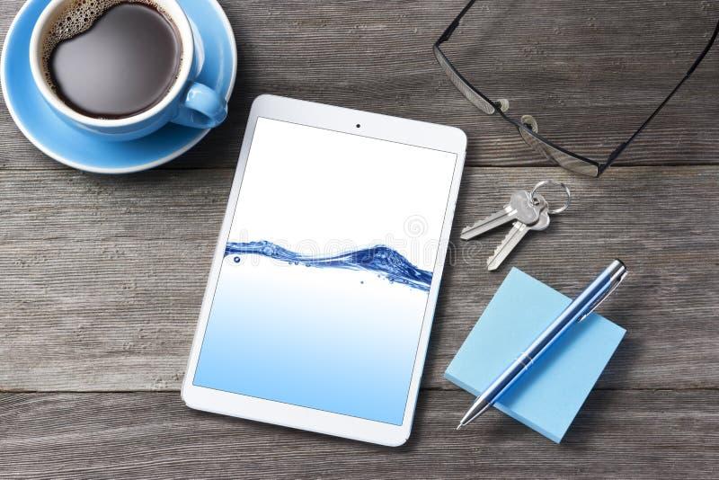 Business Tablet Computer Desk Background stock photos
