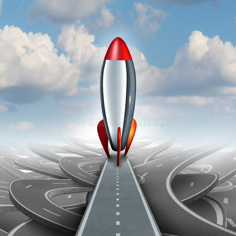 Business Take Off. Concept with a rocket ship on a straight road over a sky background of tangled streets as a freedom metaphor for escaping and taking an royalty free illustration