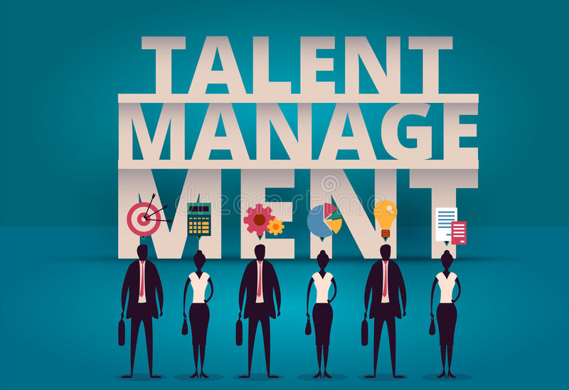 Business talent management concept. HR manager hiring employee o. R workers for job. Recruiting staff in company. Organizational socialization illustration stock illustration