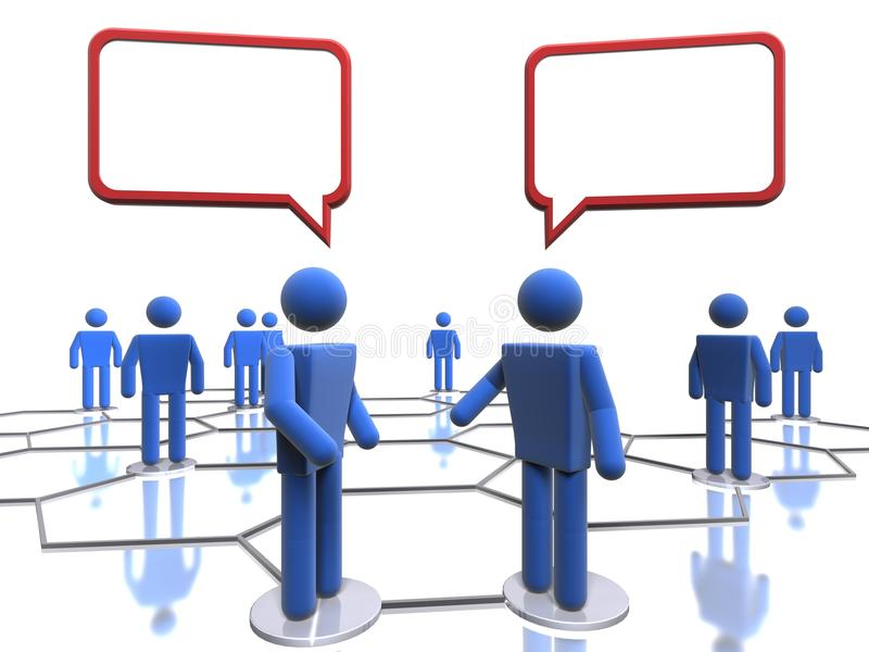 Business talk. 3D figures coversing in a business network royalty free illustration